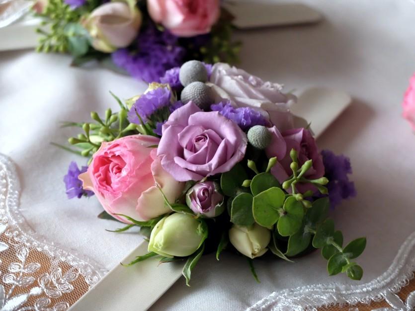 Dekoracje ślubne fiolet i męta FLORALIA 12