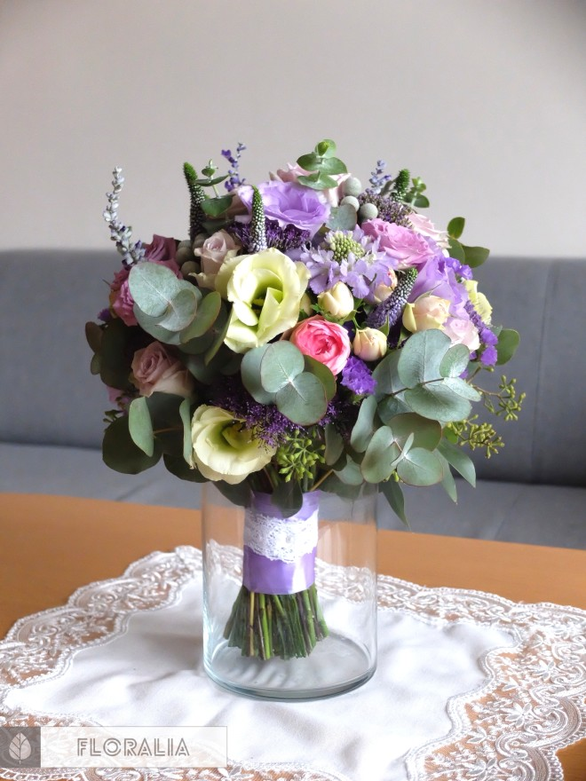 Dekoracje ślubne fiolet i męta FLORALIA 16