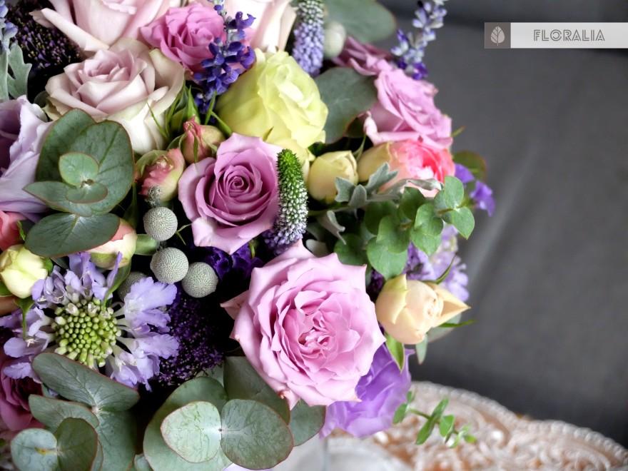 Dekoracje ślubne fiolet i męta FLORALIA 17