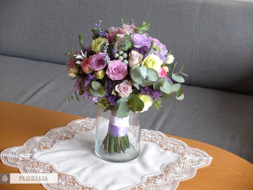 Dekoracje ślubne fiolet i męta FLORALIA 18