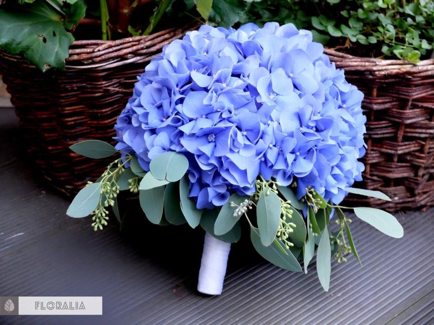 Dekoracje z hortensją w kolorze ciemnoniebieskim FLORALIA 01