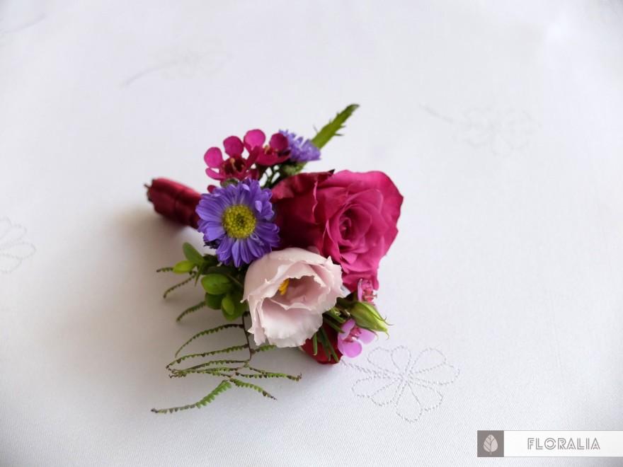 Wesele radiant orchid wianek_Butonierka 7