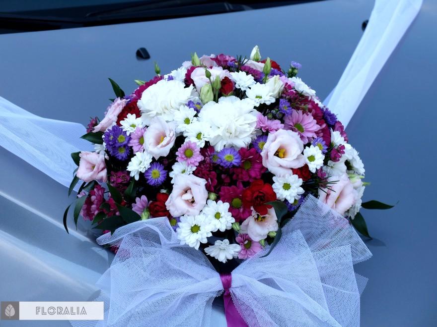 Wesele radiant orchid wianek_Dekoracja samochodu 4