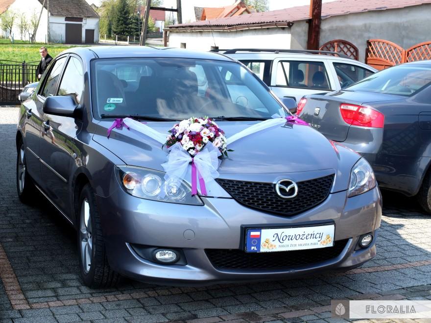 Wesele radiant orchid wianek_Dekoracja samochodu 5