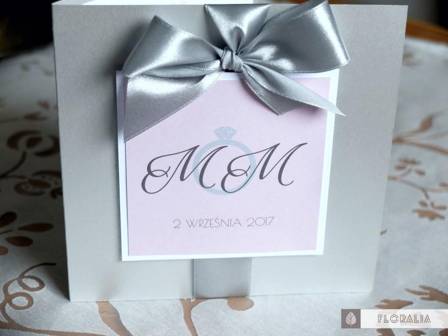Zaproszenia Glamour Szary Róż - Floralia 01
