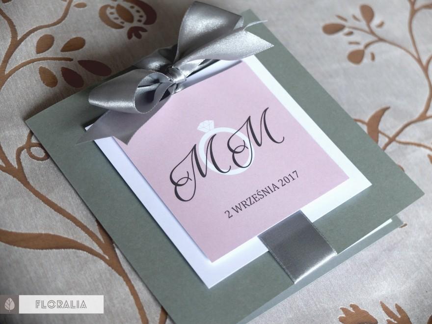 Zaproszenia Glamour Szary Róż - Floralia 02