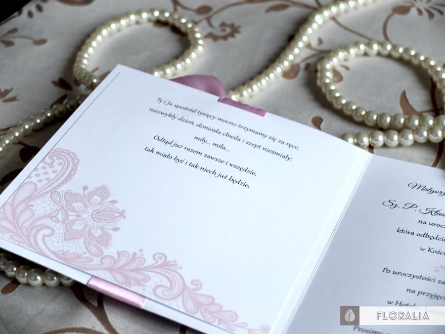 Zaproszenia Glamour Szary Róż - Floralia 07