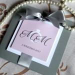 Zaproszenia Glamour Szary Róż - Floralia bez loga2